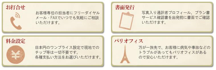 パリ観光通訳ガイド ドットコムを選んでいただいている理由4ポイント フリーダイヤルによるお打合せ、確認書他の書面発行、分かりやすい料金設定、安心のパリオフィス