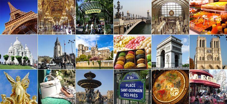 """""""パリ観光のモデルコースとして人気のあるおすすめスポット写真。エッフェル塔、凱旋門、ノートルダム人、サクレクール寺院、ルーブル美術館、オルセー美術館、シャンゼリゼ通り、サンジェルマン地区ほか"""""""